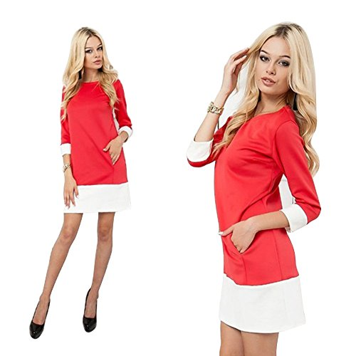 Women's Linen Caftan Ethnic Evening Dress (Red) - 8