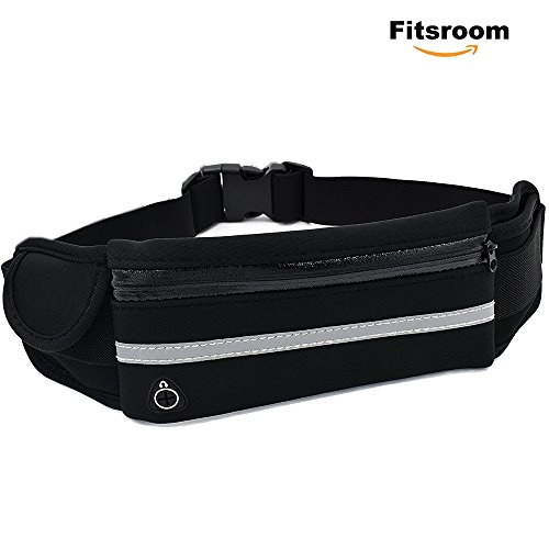 Elastic Running Belt for iPhone X/8/7 Plus with Water Bottle Holder, Waterproof Sports Fanny Pack Waist Pack for Women/Men