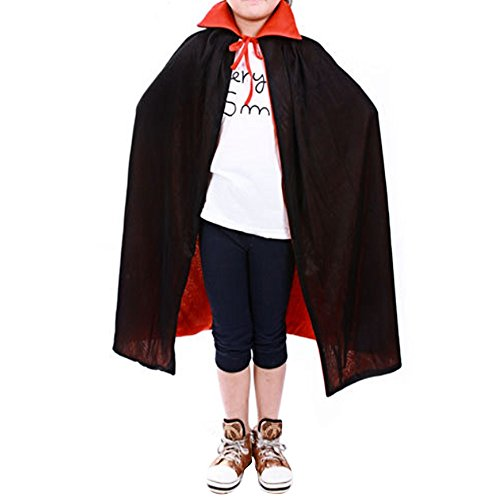 Female Dracula Costumes (Kangkang@ Vampire Dracula Cloak Cape for Women Female Halloween Fancy Dress Costume 120cm Long Black Red Reversable)