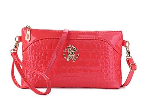 Tiny Chou Women's Crocodile Print Glossy Faux Leather Handbag Wristlet Clutch Wallet Crossbody Bag