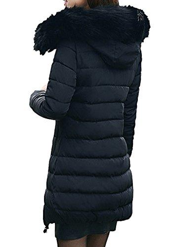 Parka señoras con Capucha Invierno Autumn Chaqueta Scothen sintética Jacket negro Winter Acolchada Capucha de Las Coat Chaqueta Capucha Parka Piel Ladies Larga Warm Winter qw5T5Z6nx