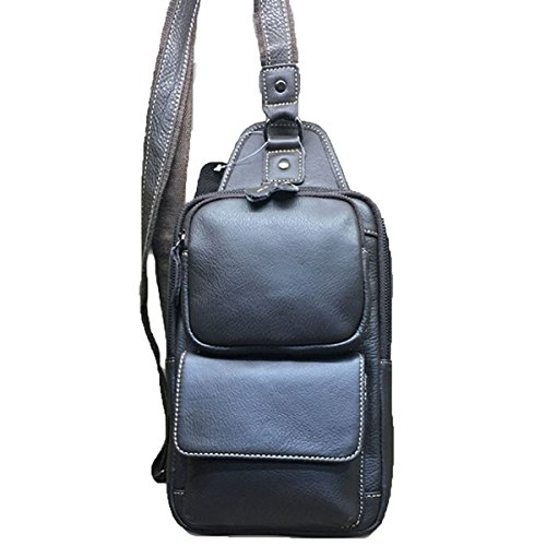 Strukturierter Kunstleder Business Casual Sack Schulranzen Außenbrusttasche Für Männer Black Eqb2h6MjjS