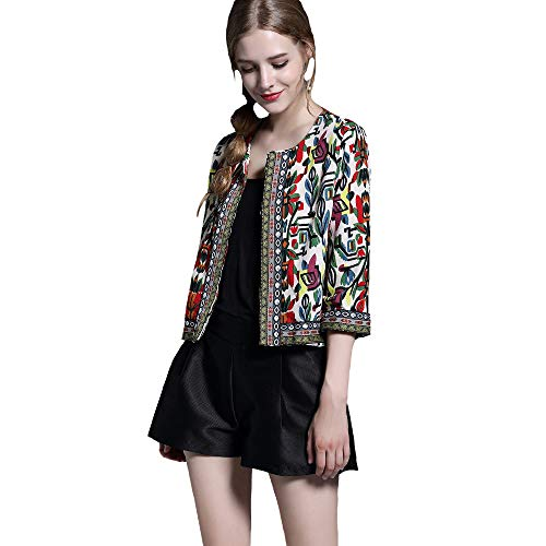 BUENOS NINOS Women's 3/4 Sleeve Ethnic Embroidery Cardigan Retro Printed Flyaway Jacket Coat Beige - Sweater Embroidered Cardigan