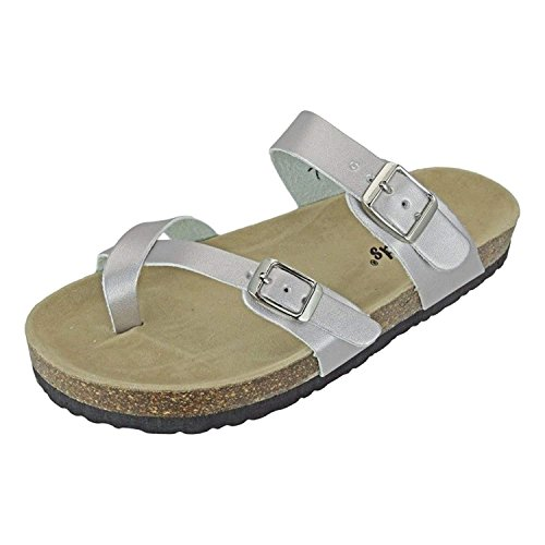 Outwoods Womens Bork-30 Vegan Leather Adjustable Strap Toe-Loop Buckle Flats Sandals (8 B(M) US, - Loop Buckle