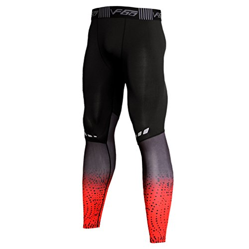 NATURET Compression Pants Running Tights Mens Leggings Baselayer Womens Cool Dry Sports Rreflect Light Tights (L, PJRed)