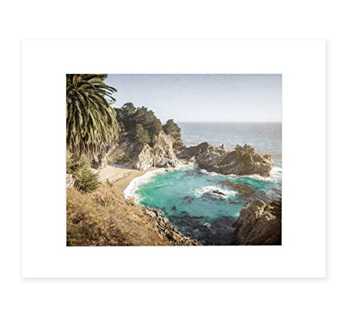 California Coastal Wall Art, Big Sur Picture, Julia Pffeifer Beach, 8x10 Matted Photographic Print (fits 11x14 frame), 'Julia Pffeifer'