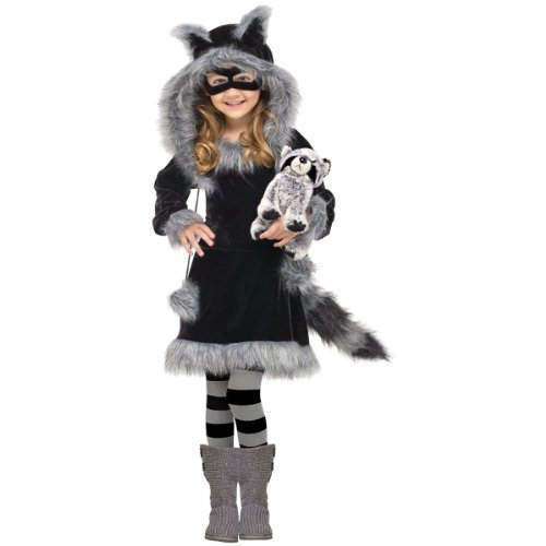 [Fun World Costumes Baby Girl's Sweet Raccoon Toddler Costume, Black/Grey, Large (4- 6) by Fun World] (Sweet Raccoon Girls Costumes)