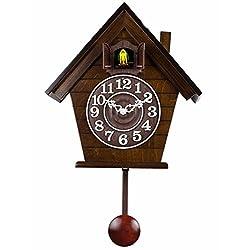 WAWZJ Wooden cuckoo clock, quartz clock, European simple, cuckoo clocks, Mediterranean children living room wall clock,F