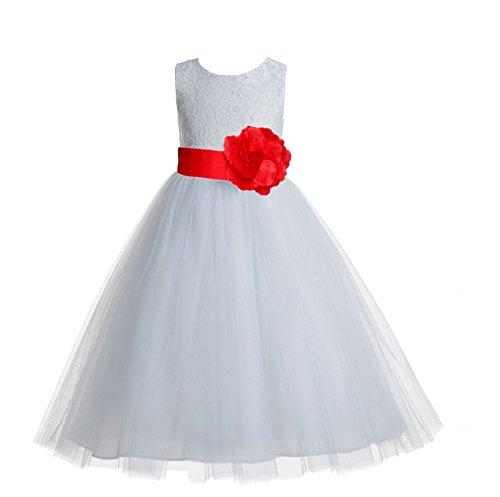 Communion Dresses Designer - ekidsbridal Floral Lace Heart Cutout White