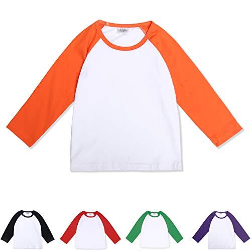 (CloudCreator Toddler Baby Girls Boys Long Sleeve Shirts Raglan Shirt Baseball Tee Cotton T-Shirt Orange)