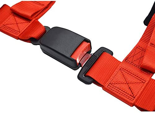 USA Car Seat Belt Lock Buckle Replacement Black+Red With Warning Wire Harness