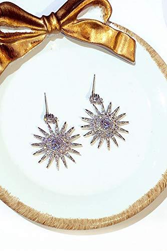 s925 Silver Needle Korea Crystal Sunflowers Diamond Earrings earings Dangler Eardrop Flash Ultra-Ultra-Luxury Trend Cents Creative Birthday Gift Sunflowers Women Girls Jewelry by KGELE Earrings (Image #3)