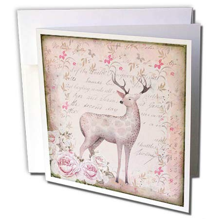 3dRose Andrea Haase Art Illustration - Deer and Roses Illustrationn in Soft Pastel Colors - 1 Greeting Card with Envelope (gc_289023_5) (Pastel Soft 1)