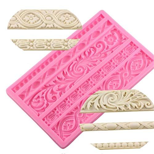 DIY Baroque Scroll Relief Cake Border Silicone Molds, European Frame Cake Decorating Tools,Relief Flower Lace Mould Mat,Baking Chocolate Gumpaste Fondant Brim Mould Fimo Clay Mold Kitchen Baking Tool ()