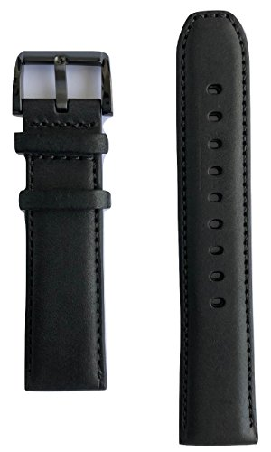 22mm Movado BOLD Black Leather Watch Band Strap with Black Buckle [22mm Band (Movado Watch Strap)
