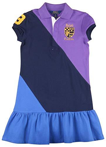 Polo Ralph Lauren Big Girls' (7-16) Colorblock Mesh Dress-Purple Multi-Large (12-14)