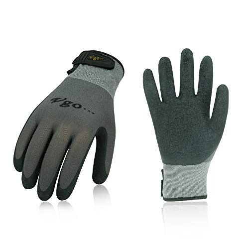 - Vgo 3Pairs Latex Rubber Coated Gardening and Work Gloves with Magic Stick(Size L,Grey,RB6023)