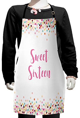 Lunarable Saying Kids Apron, Soft Pastel Colored and Dotted Frame for Teenager Birthday Celebration, Boys Girls Apron Bib with Adjustable Ties for Cooking Baking and Painting, Fuchsia Peach
