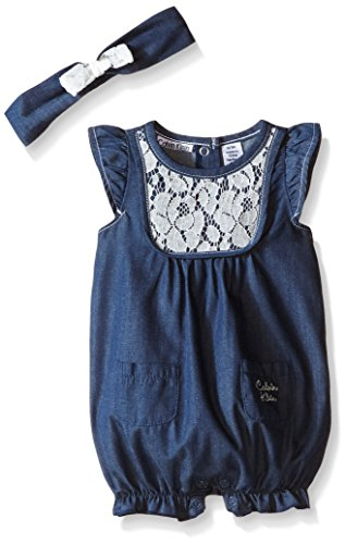 Calvin Klein Baby Girls' Chambray Romper With Eyelet, Dark Blue, 24 Months Eyelet Romper