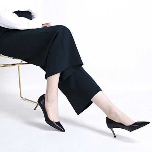 Sauvage Femme Chaussures Élégant DKFJKI Chaussures en Simple Sociales Hauts Femmes pour Peu Profonde Talons Bouche pour Black Cuir AIS6wI