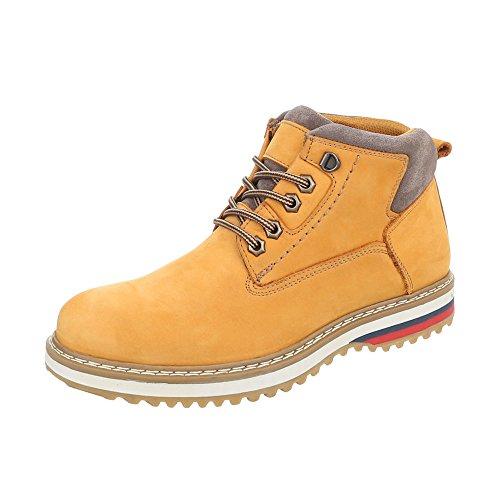 Combat Leder Boots Design Schnürer Gelb Boots Herrenschuhe Orange Schnürsenkel Ital Stiefeletten xF1qwx