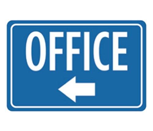 Aluminum Metal Office Print Blue White Notice Left Arrow Business Large Sign - Single Sign, 12x18