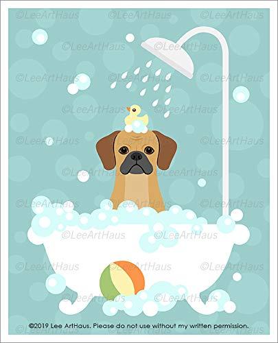 (422D - Puggle in Bubble Bath Bathtub UNFRAMED Wall Art Print by Lee ArtHaus )