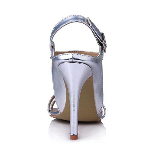High Best Buckle 4U Sole Heels Silver Peep Pumps Summer Sandals One Rubber Bow Women's Mirror toe 10CM PU Shoes vvwrfqxHZ