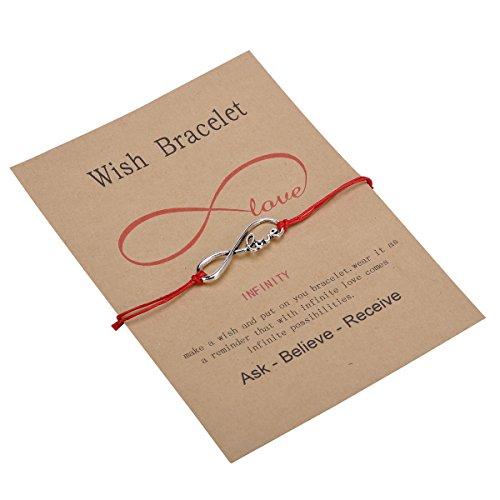 HooAMI Make a Wish Bracelet Love Infinity Charm Red String Friendship Bracelet Wish Bracelet
