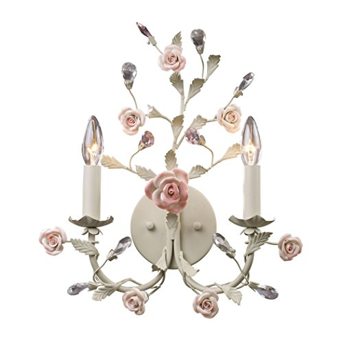 Alumbrada Collection Heritage 2 Light Wall Sconce In Cream With Pink Porcelain Accents (Wall Sconce Heritage Electric)