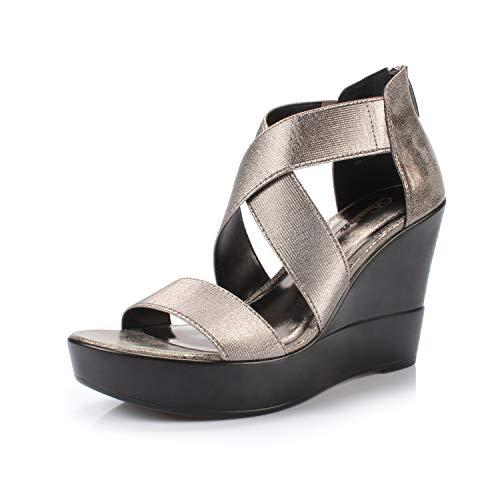 DUNION Women's AWE Zip Closure Crisscross Straps Platform Wedge Sandal Wedding Party Dress Shoe,Pewter Awe,11 M -