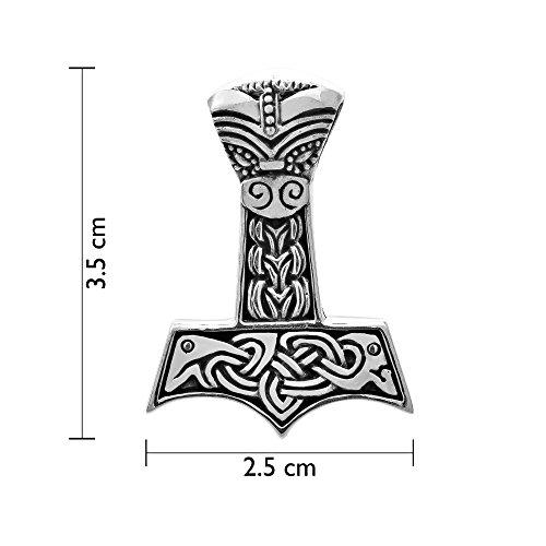 WithLoveSilver Sterling Silver Trinity Celtic Viking Amulet Dragon Hammer of Thor Mjolnir Pendant