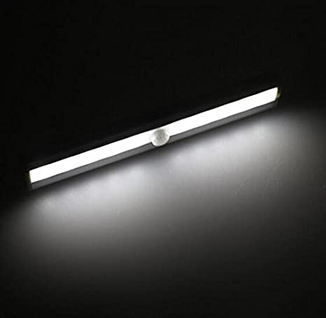 CDH ® Automatic Wireless 10 LED Human body infrared Motion Sensor Closet Light Stick-on Anywhere Portable Cabinet LED Night Light Silver (Battery Operated) ...