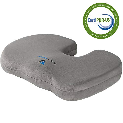 Vaunn Medical Firm Seat Cushion - Coccyx Tailbone Chair or Car Seat Cushion (Certified Foam Pillow)