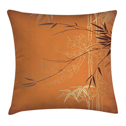 Bamboo Throw Pillow - Ambesonne Bamboo Throw Pillow Cushion Cover, Bamboo Branches Flowers Illustration in Vivid Color Eastern Nature Theme, Decorative Square Accent Pillow Case, 16 X 16 Inches, Orange Yellow Brown
