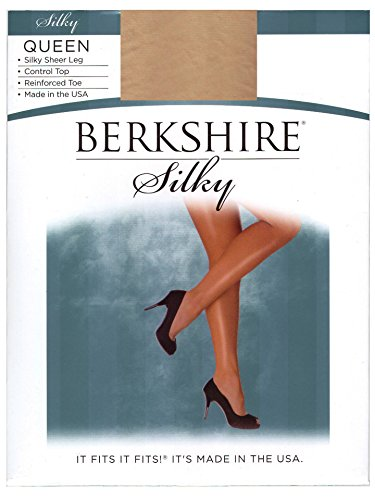 Berkshire Women's Plus-Size Queen Silky Sheer Control Top Pantyhose 4489,Nude,1X-2X (80 S Outfit)