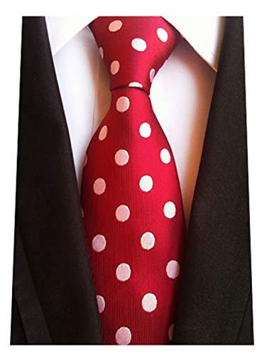 MENDENG Classic Polka Dot White Red Ties Jacquard Woven Silk Men's Tie Necktie]()