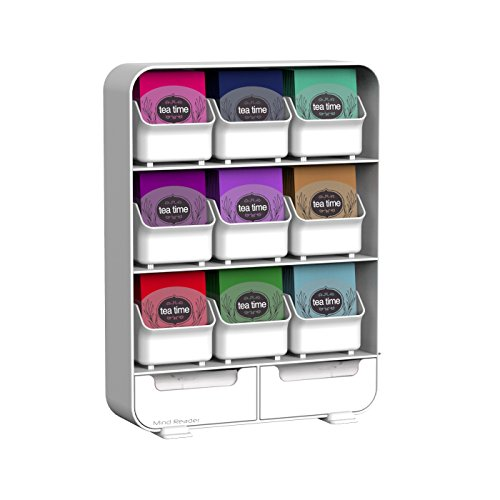 Mind Reader 'Baggy' 9 Drawer Tea Bag and Accessory Holder, (Reader White Box)
