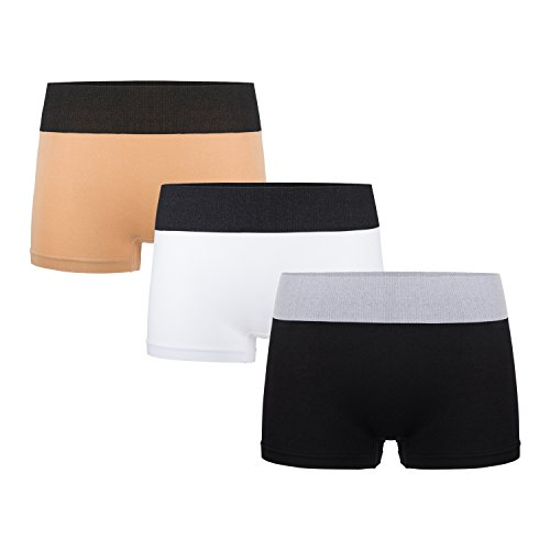 Sassalilly Women's 3 Pack Comfort Boyshort Panty,Seamless Boxer Brief Underwear Multicolor Size ()