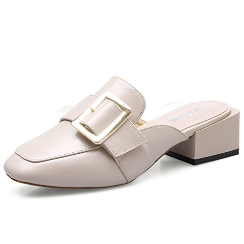 Summer's Lazy Header Half Slippers, Female Crude Sandals,High Heel Shoes,Casual Shoes B