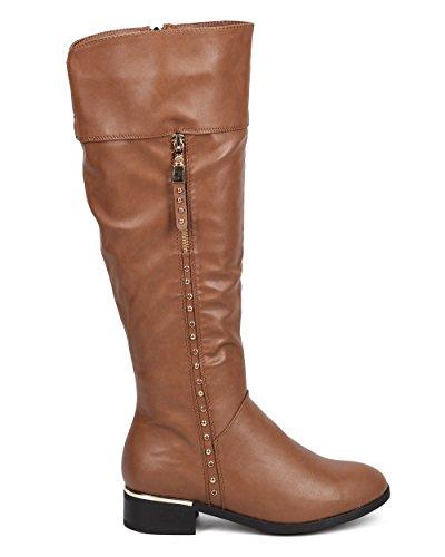 Dbdk Dc93 Damessnoep Hoge Kunstleer Amandel Teen Stud Boots Taupe