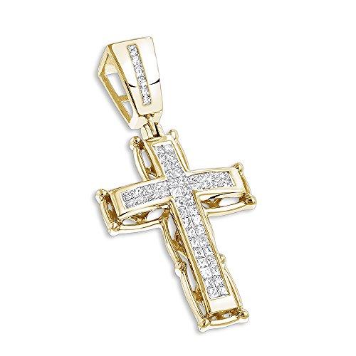 Luxurman 14K Mens Cross Pendant Princess Cut Natural 1 Ctw Diamonds For Him (Yellow Gold)