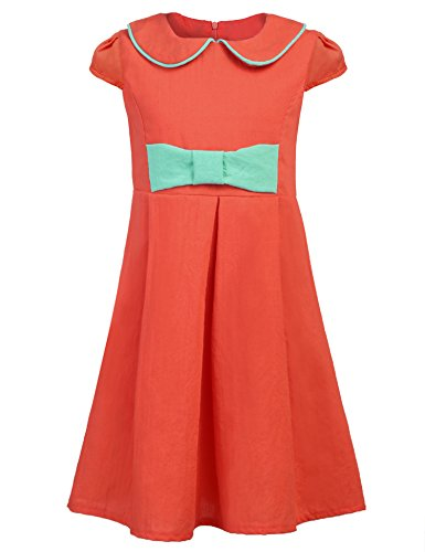 Balasha Kids Girl's Wear A Line Short Sleeve Vintage Style Peter Pan Collar Dress by Balasha