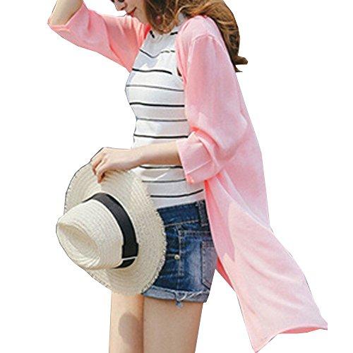 寄り添うケーキ大きさ(マーシェル) Marshel マタニティ ロング カーディガン 軽やか素材 シフォン 産前 産後 長く使える 体型カバー おしゃれ 妊婦服 ピンク フリーサイズ