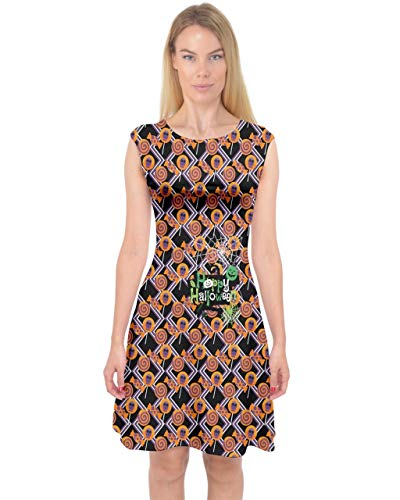 - PattyCandy Womens Zigzag Halloween Candies Print Capsleeve Midi Dress - S