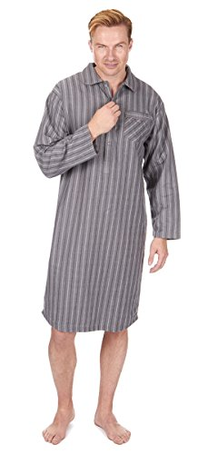 CARGOBAY Men's Striped Long Flannel Nightshirt