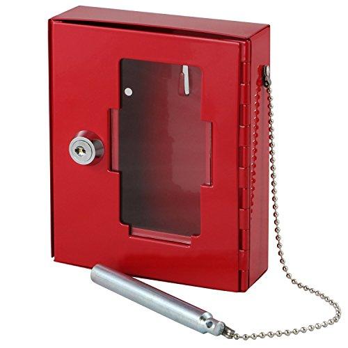 Schlüsselkasten Schlüsselschrank für mit Hammer Glas Brechen, 15x 12x 4cm), Rot