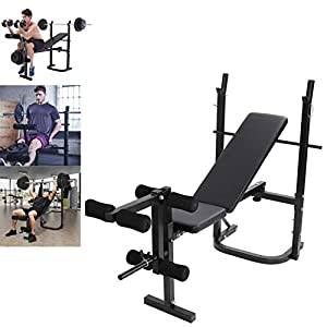 Olympic Weight Bench, Adjustable Weight Lift Bench Rack Set with Preacher, Curl Leg Developer, Squat Rack for Full-Body Workout Home Gym Weightlifting and Strength Training [Fast Delivery from The U.S.]