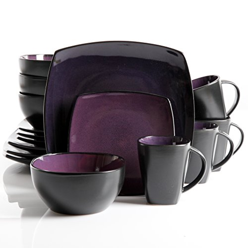 Saucers Oven Cups Safe (Gibson Soho Lounge 16-Piece Square Reactive Glaze Dinnerware Set, Purple.)