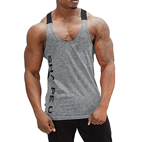 TANGSen_Mens Sleeveless Muscle Vest Fitness Bodybuilding Top Workout Gym Sport Tanks Breathable Print Summer Tee Gray